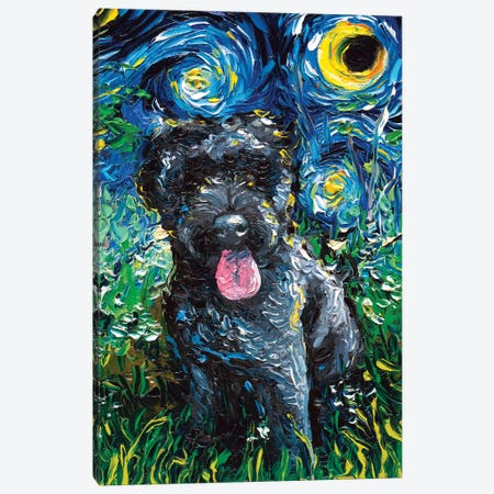 Black Goldendoodle Night Canvas Print #AJT175} by Aja Trier Canvas Art