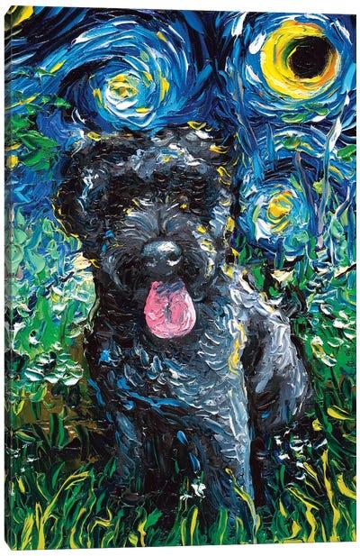 Black Goldendoodle Night Canvas Art Print