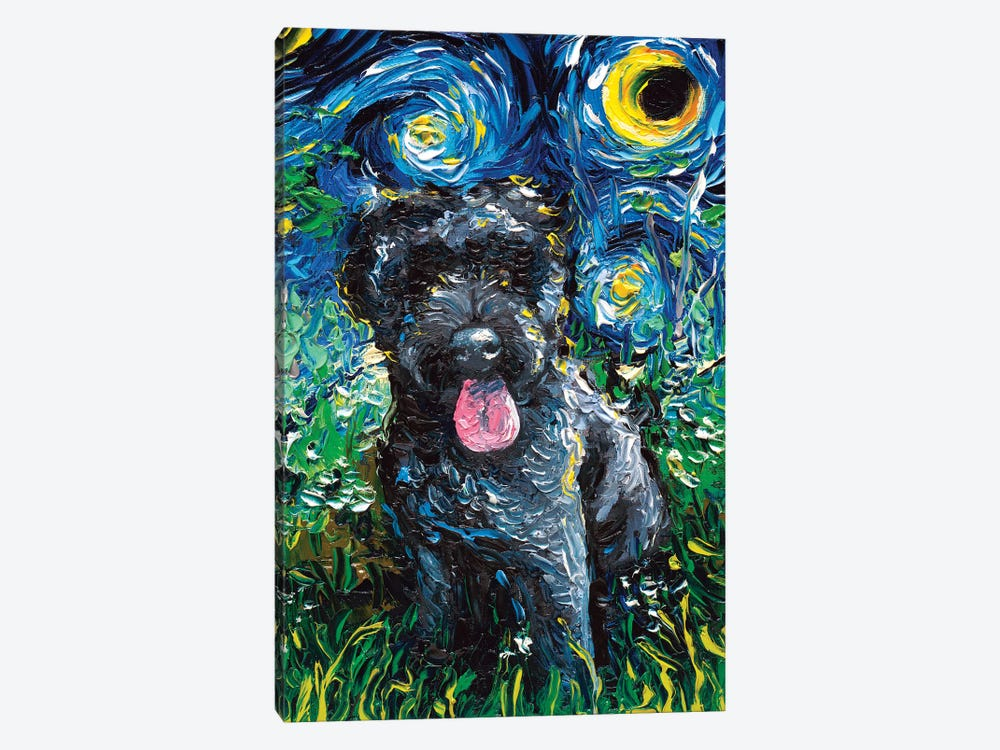 Black Goldendoodle Night by Aja Trier 1-piece Canvas Wall Art