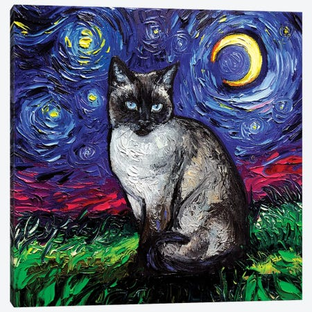 Siamese Night Canvas Print #AJT177} by Aja Trier Canvas Art