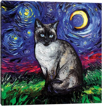 Siamese Night Canvas Art Print