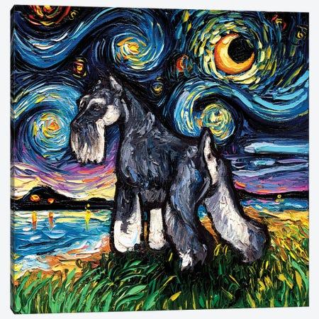 Standard Schnauzer Night Canvas Print #AJT179} by Aja Trier Canvas Art Print