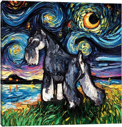 Standard Schnauzer Night Canvas Art Print