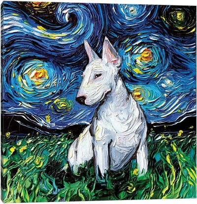 Bull Terrier Night Canvas Art Print