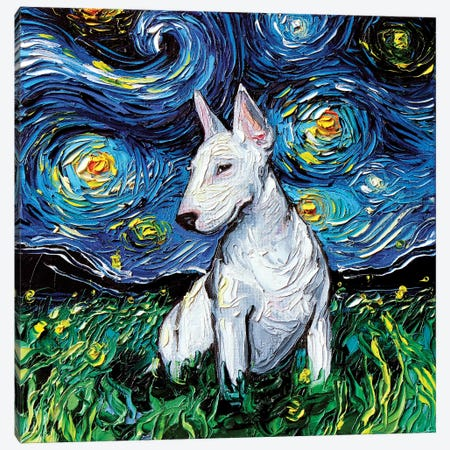 Bull Terrier Night Canvas Print #AJT17} by Aja Trier Art Print