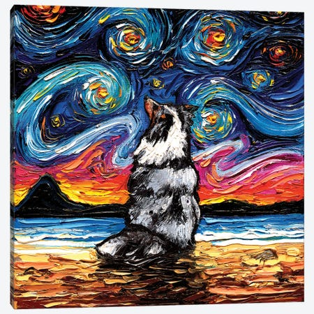 Merle Shetland Sheepdog Night Canvas Print #AJT180} by Aja Trier Canvas Artwork