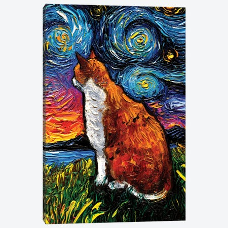 Orange And White Tabby Night 3-Piece Canvas #AJT182} by Aja Trier Canvas Art