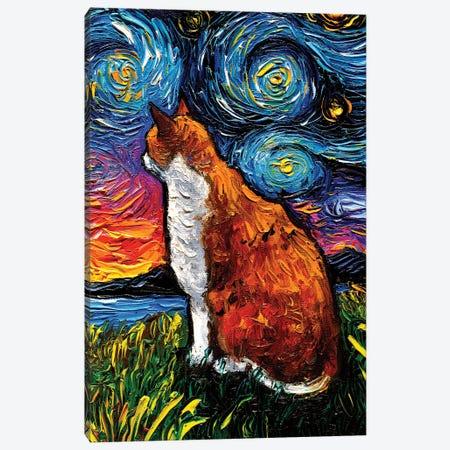 Orange And White Tabby Night Canvas Print #AJT182} by Aja Trier Canvas Art