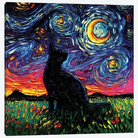 Black Cat Night Canvas Print #AJT183} by Aja Trier Canvas Wall Art