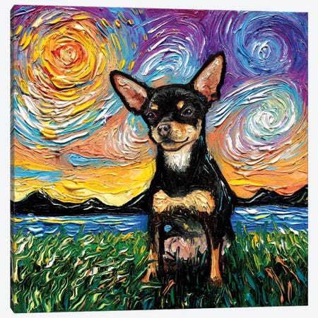Short Hair Black And Tan Chihuahua Night Canvas Print #AJT186} by Aja Trier Art Print