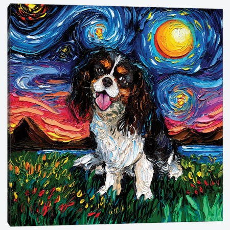 Tri Color Cavalier King Charles Spaniel Night Canvas Print #AJT187} by Aja Trier Canvas Art Print