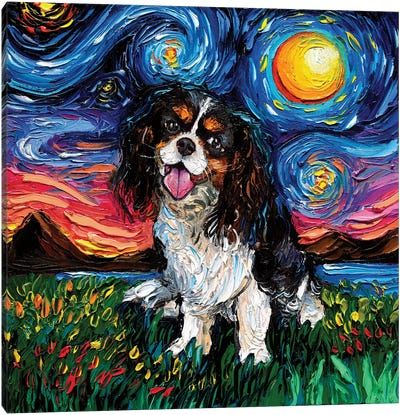 Tri Color Cavalier King Charles Spaniel Night Canvas Art Print