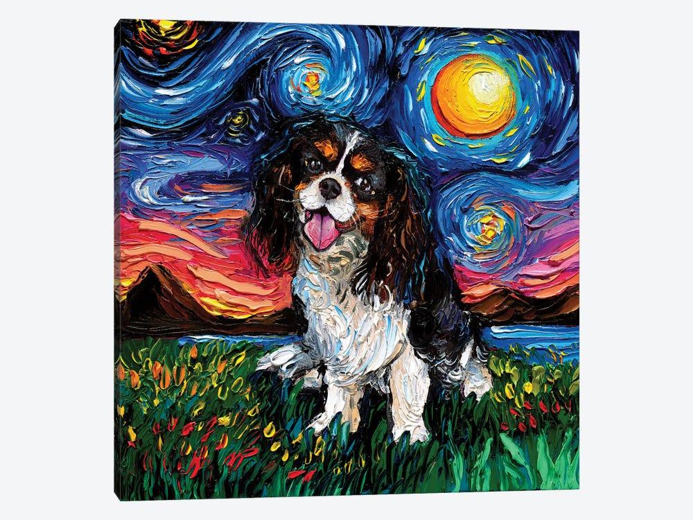 Tri Color Cavalier King Charles Spaniel Night by Aja Trier 1-piece Canvas Print