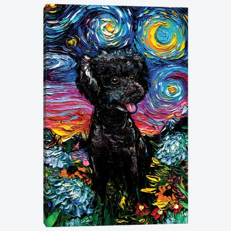 Black Poodle Night III Canvas Print #AJT188} by Aja Trier Canvas Art