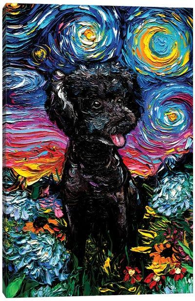 Black Poodle Night III Canvas Art Print