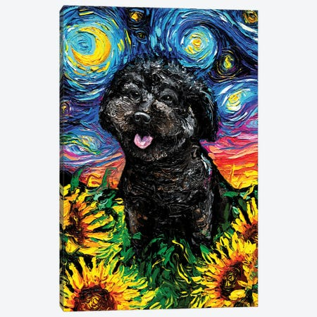 Black Poodle Night IV Canvas Print #AJT189} by Aja Trier Canvas Wall Art