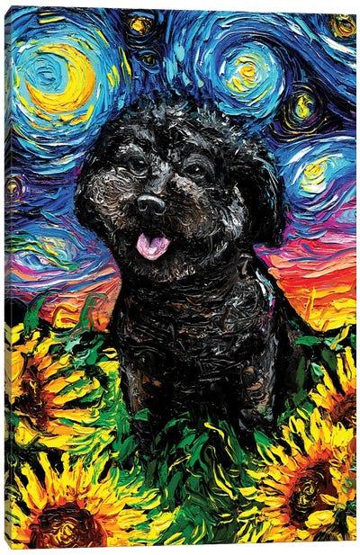 Black Poodle Night IV Canvas Art Print