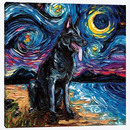 Black German Shepherd Night Canvas Print #AJT190} by Aja Trier Canvas Print