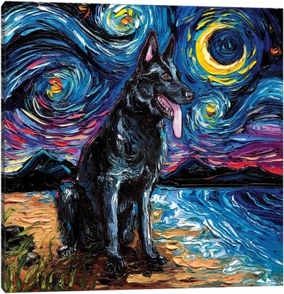 Black German Shepherd Night Canvas Art Print