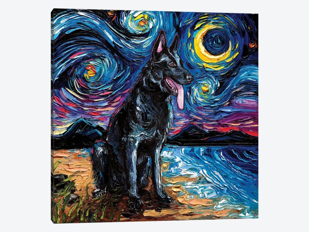 Black German Shepherd Night by Aja Trier 1-piece Art Print