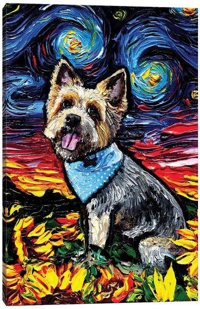 Silky Terrier Night Canvas Art Print