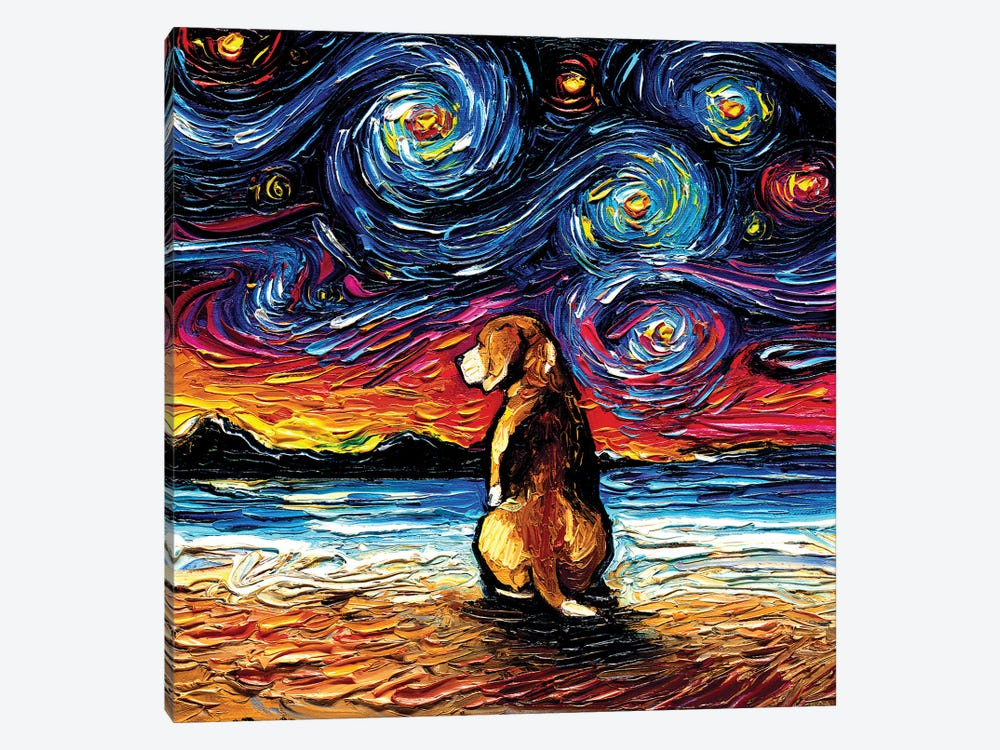 Beagle Night II by Aja Trier 1-piece Canvas Artwork