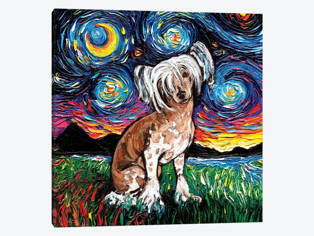 Chinese Crested Night by Aja Trier 1-piece Canvas Wall Art