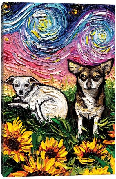 Two Chihuahuas Night Canvas Art Print