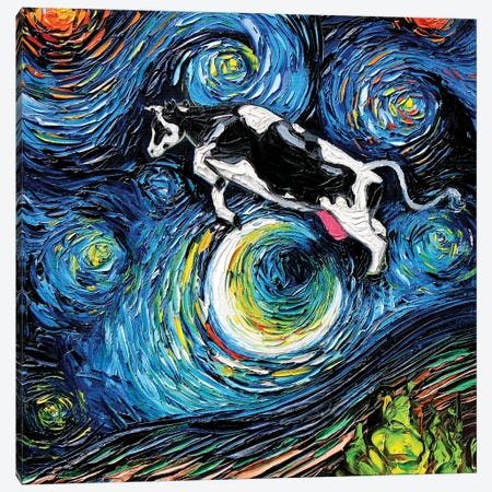 The Cow Jumped Over The Moon Canvas Print #AJT201} by Aja Trier Art Print
