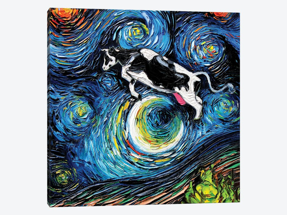 The Cow Jumped Over The Moon by Aja Trier 1-piece Art Print