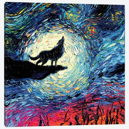 Van Gogh Never Howled At The Moon Canvas Print #AJT206} by Aja Trier Canvas Wall Art