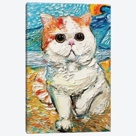 Cutest Cat Among The Wheat Sheaves And Rising Sun 3-Piece Canvas #AJT210} by Aja Trier Canvas Art