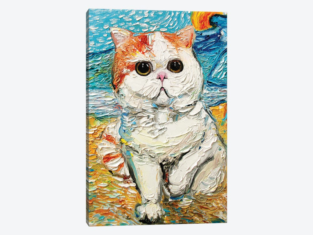 Cutest Cat Among The Wheat Sheaves And Rising Sun by Aja Trier 1-piece Art Print