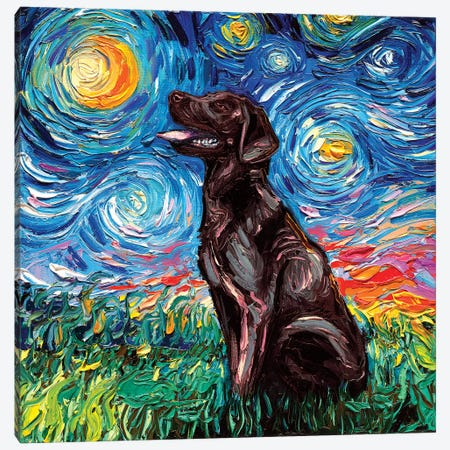 Chocolate Labrador Night Canvas Print #AJT21} by Aja Trier Canvas Art Print
