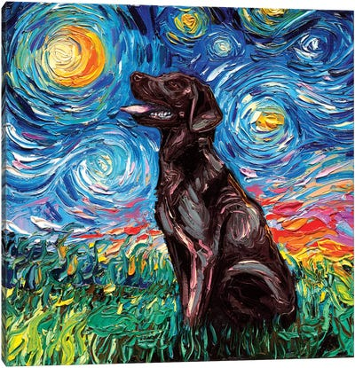 Chocolate Labrador Night Canvas Art Print