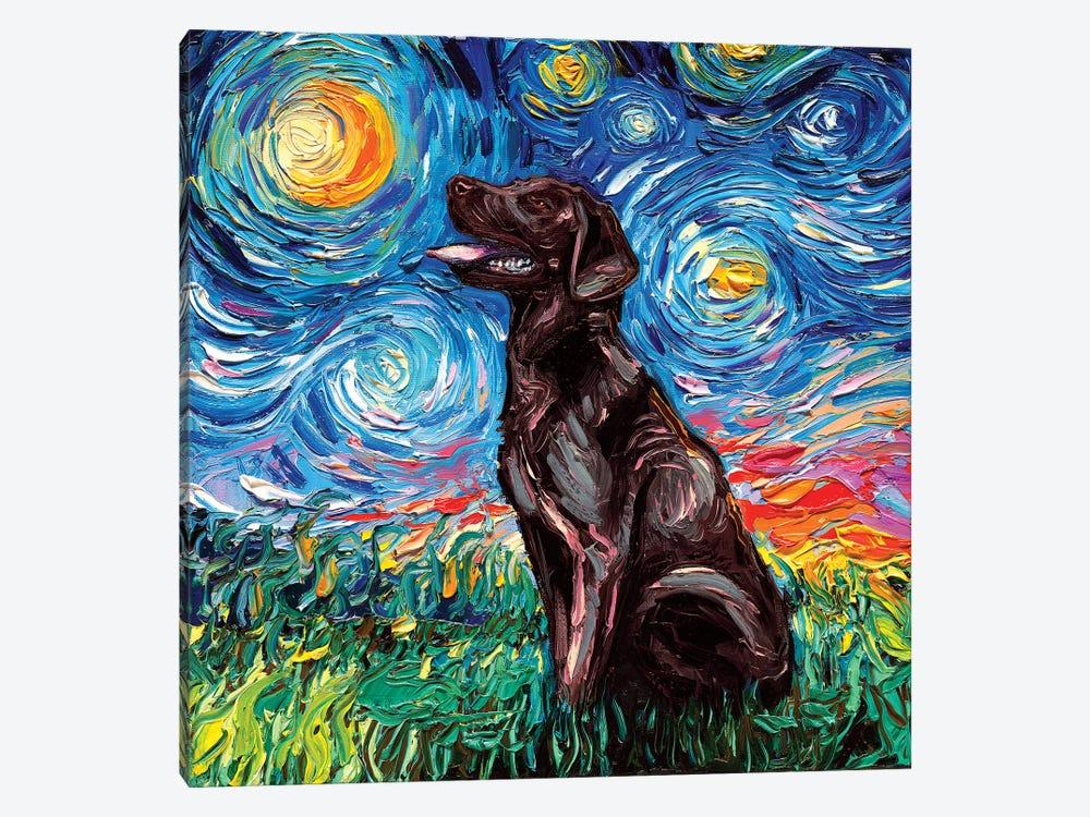 Chocolate Labrador Night by Aja Trier 1-piece Canvas Wall Art