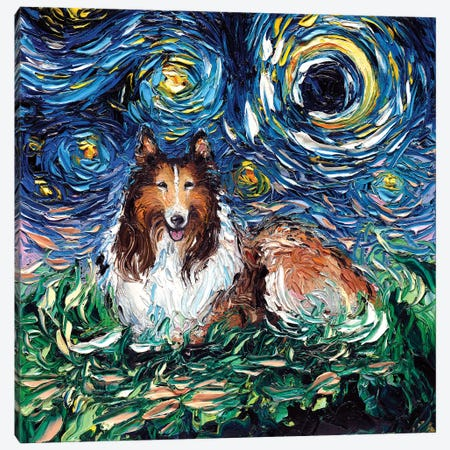 Collie Night Canvas Print #AJT22} by Aja Trier Art Print