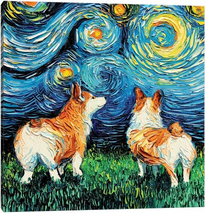 Corgi Night Canvas Art Print