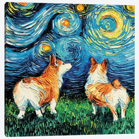 Corgi Night Canvas Print #AJT23} by Aja Trier Canvas Art Print