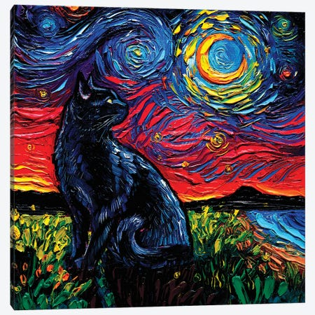 Black Cat Night II 3-Piece Canvas #AJT266} by Aja Trier Canvas Art