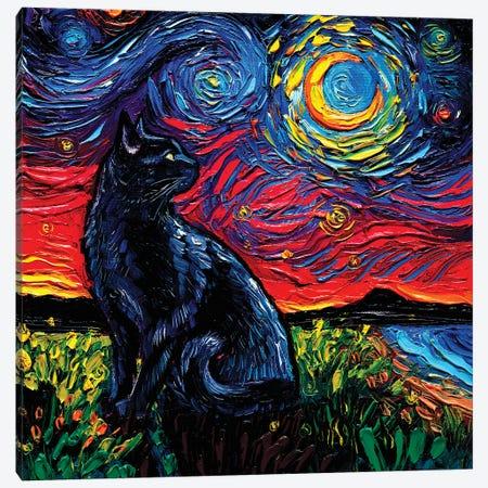 Black Cat Night II Canvas Print #AJT266} by Aja Trier Canvas Art