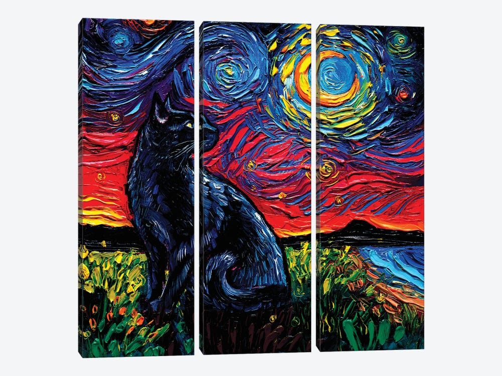 Black Cat Night II by Aja Trier 3-piece Canvas Artwork