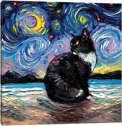 Tuxedo Cat Night II Canvas Art Print