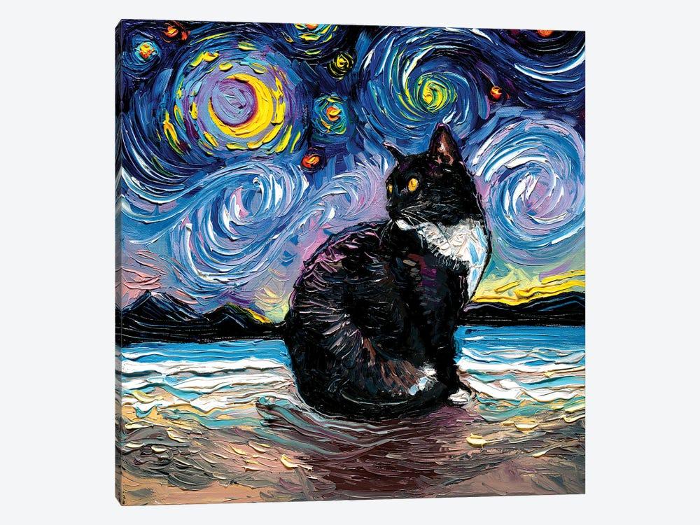 Tuxedo Cat Night II by Aja Trier 1-piece Canvas Print