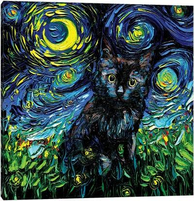 Black Cat Night #3 Canvas Art Print
