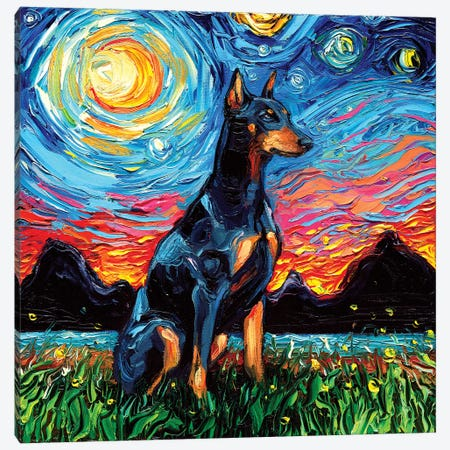 Doberman Night Canvas Print #AJT26} by Aja Trier Canvas Art