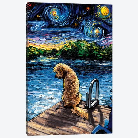 Goldendoodle Night III Canvas Print #AJT271} by Aja Trier Canvas Artwork