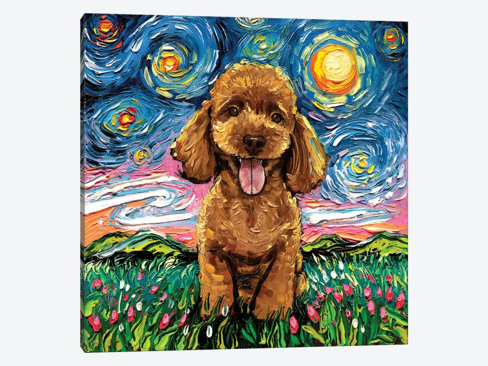 Apricot Poodle Night by Aja Trier 1-piece Canvas Artwork