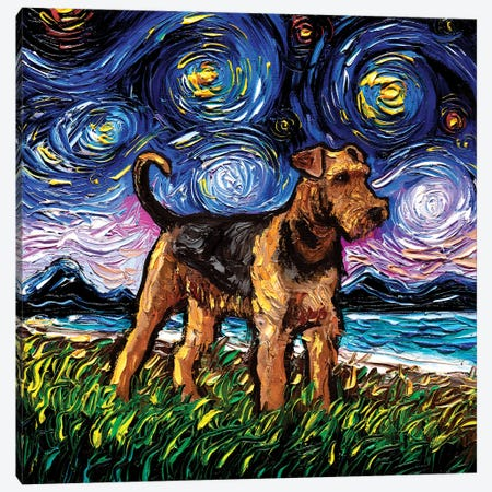 Airedale Terrier Night Canvas Print #AJT278} by Aja Trier Canvas Wall Art