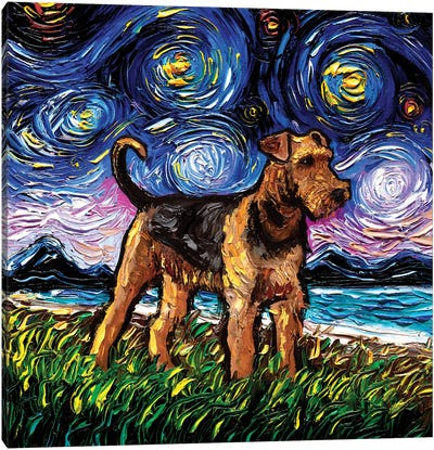 Airedale Terrier Night Canvas Art Print